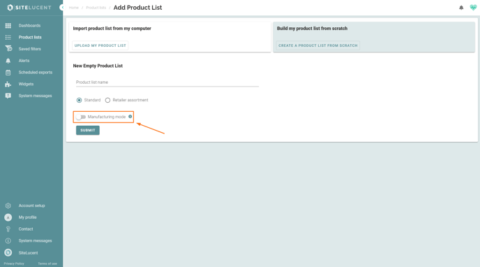 Manufacturing mode build a product list