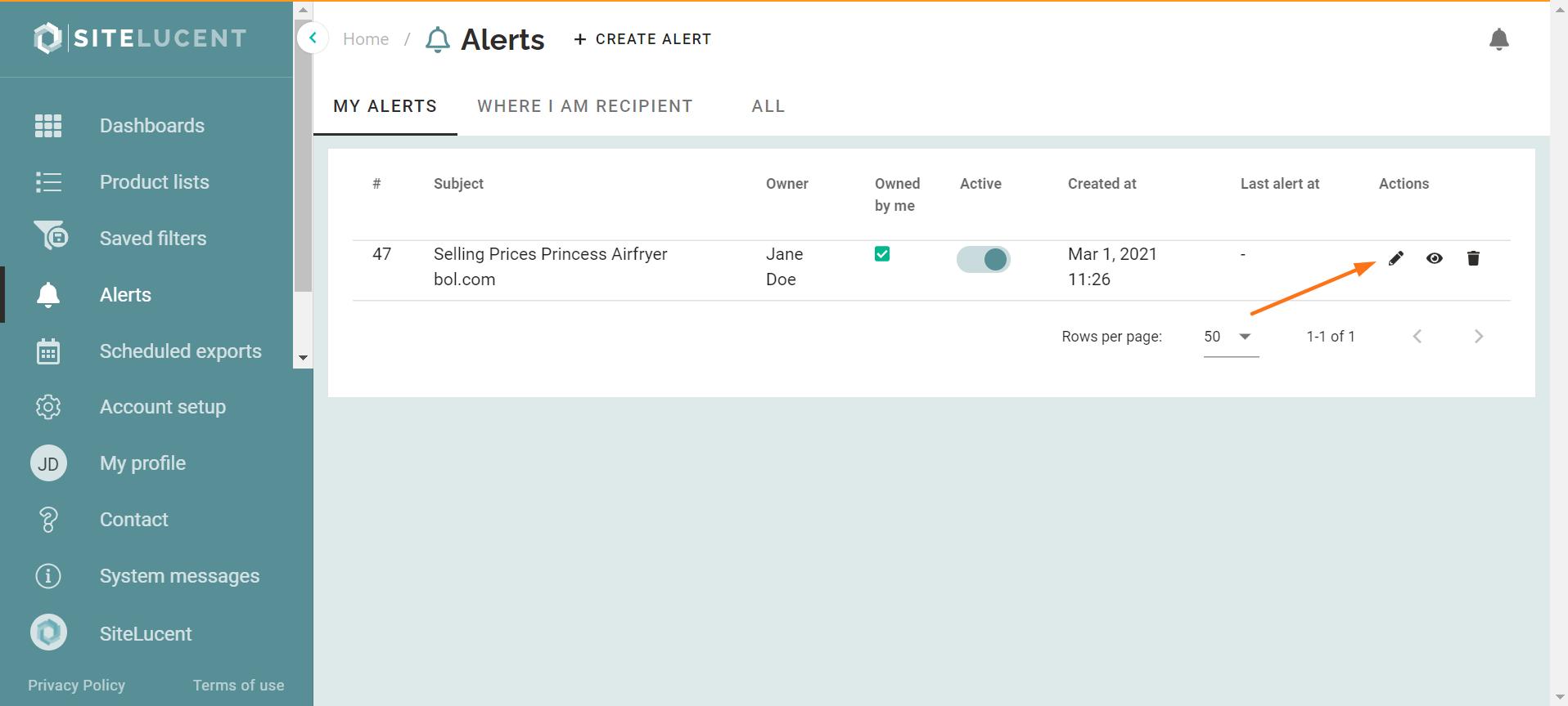 ecommerce software edit alerts