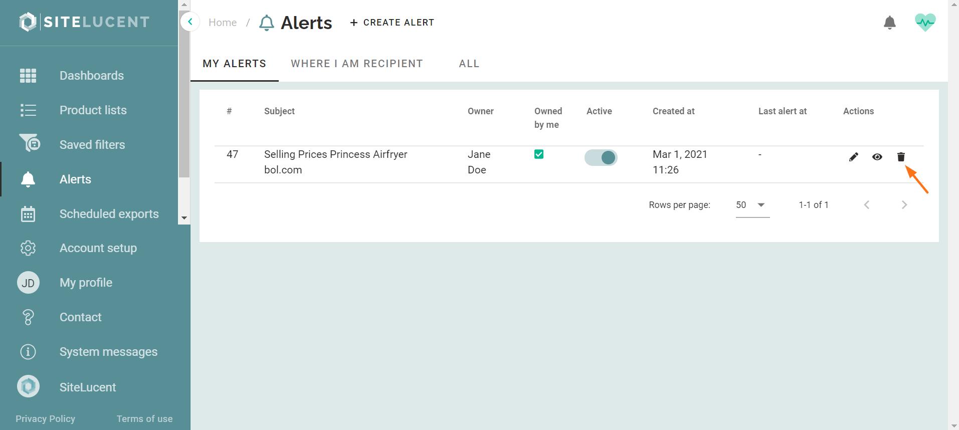 ecommerce monitoring delete alerts